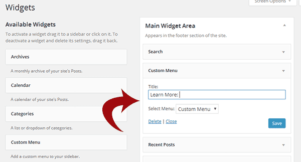 Adding a custom menu widget containing link to your privacy policy page