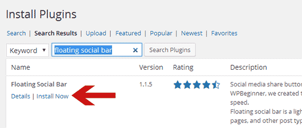 Installing a plugin from WordPress admin area using search